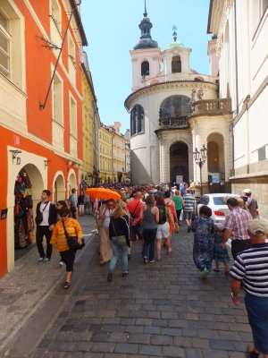 Crowded Streets of Prague