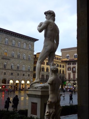 Florence: Copy of David looking out on the square