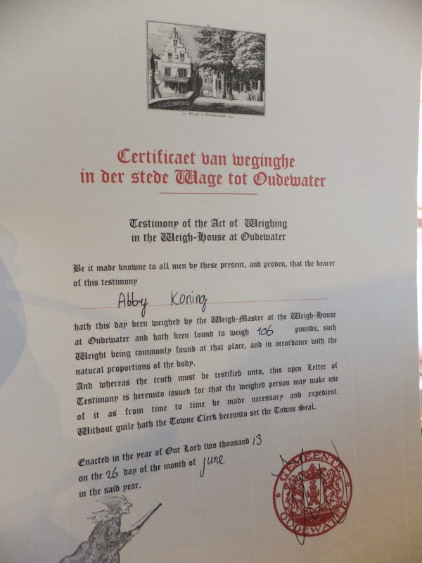 Oudewater Witch Museum Weight Certificate