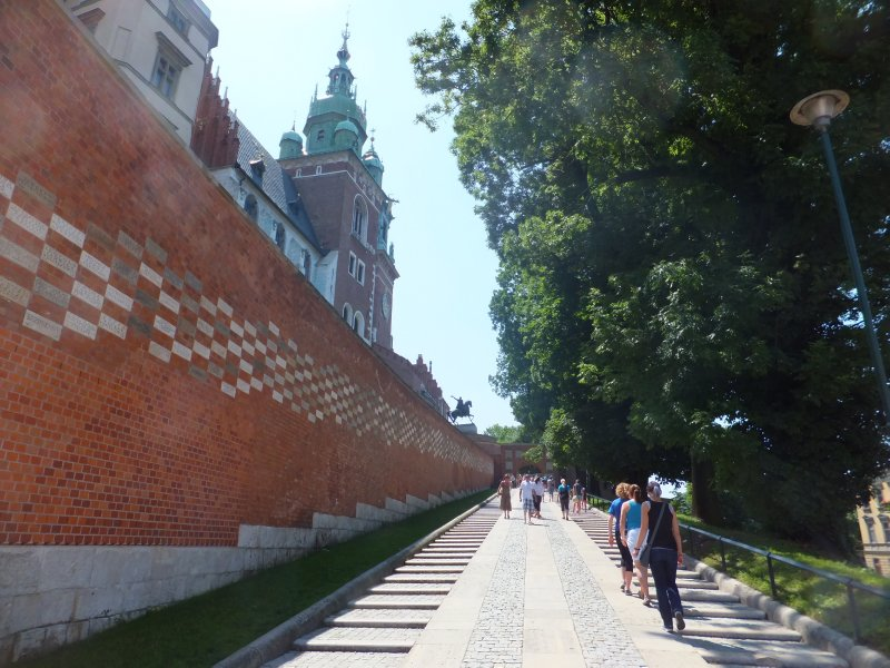 Walking up Wawel Hill