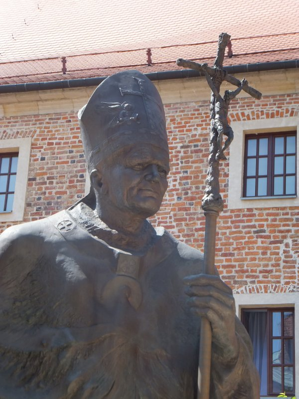 Statue of John Paul II in front of Wawel Cathedral