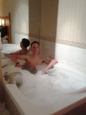 will chilling in the hot tub loving life!