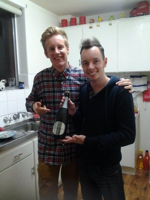 celebration our melbourne arrival with jason and a bottle of bubbly!