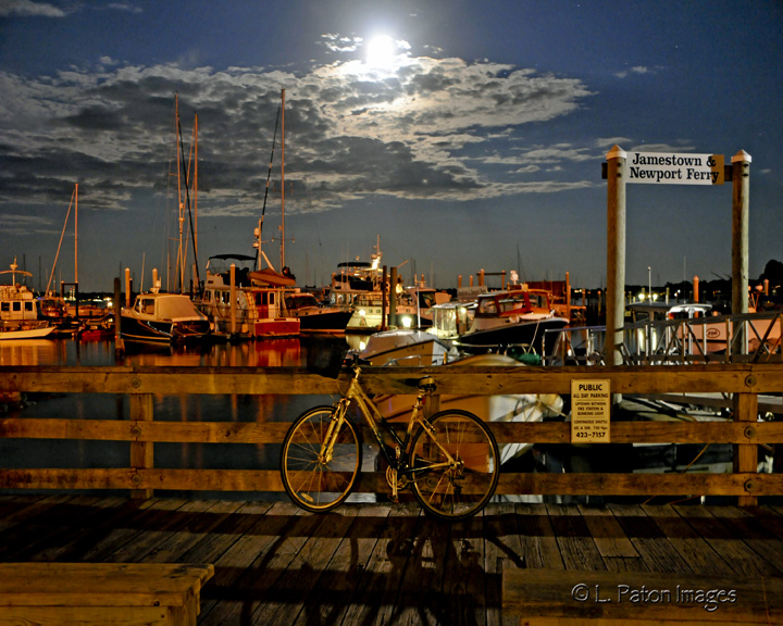 moon rise over jamestown dock