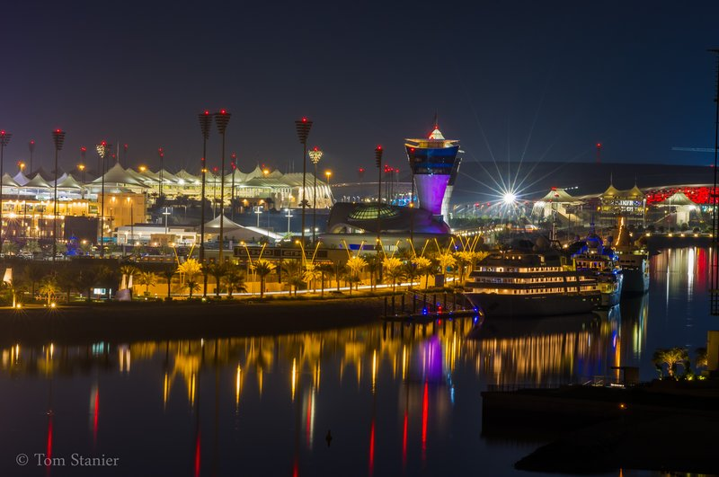 Yas Marina Circuit under Moonllight