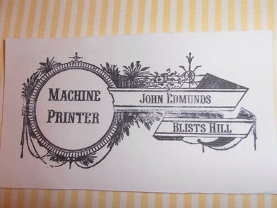 The Card of The Victorian Printer at Ironbridge - I'll need this if I decide to take the job!