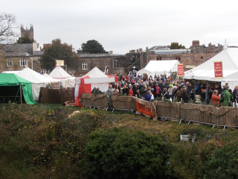 Looking over the Medieval Fayre from the Bridge over the Moat