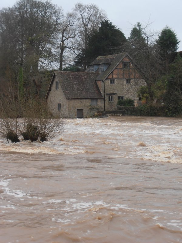 The River Teme in Flood at Ludlow