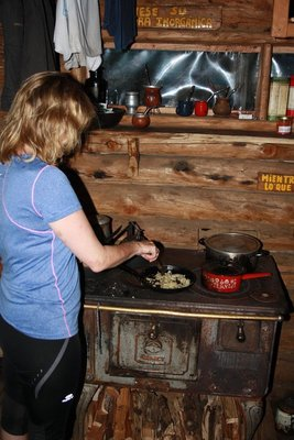 Cooking  up a storm on a wood burning stove