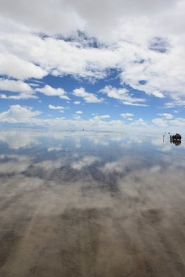 Jeep on salt flats