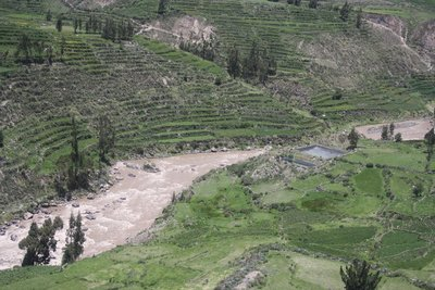 colca river with stepped terraces created around the 13th century.