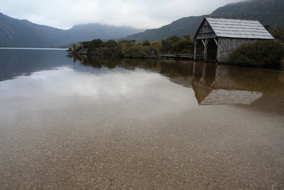 Boat Shed reflected in Lake at Cradle Mountain