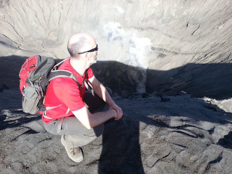 looking into mount bromo crater