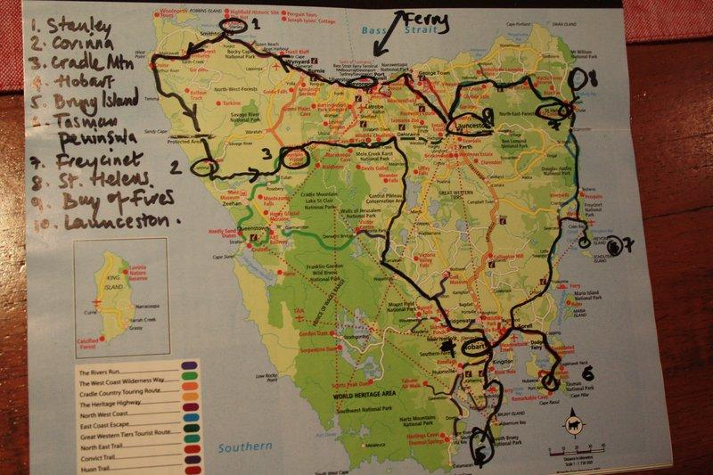 Map of Tassie