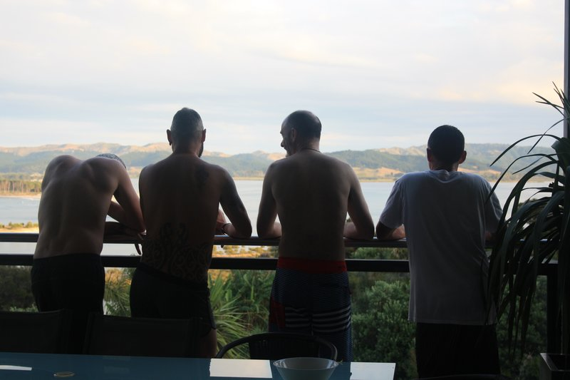 boys chewin the fat on the deck