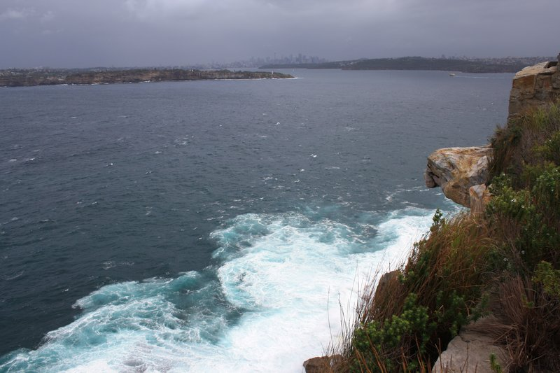Mouth of Harbour with moody Sydney in distance