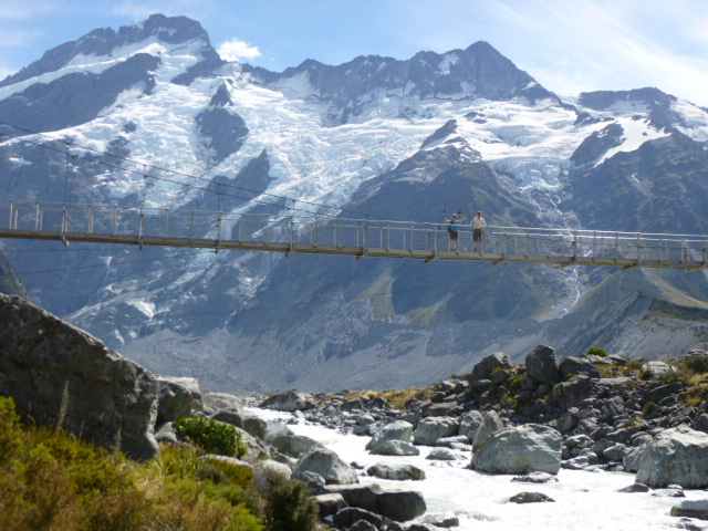 on the bridge at Mt Cook