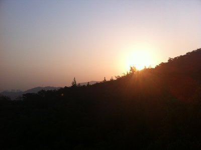 Sunrise at the top of a hill, Xiamen, China