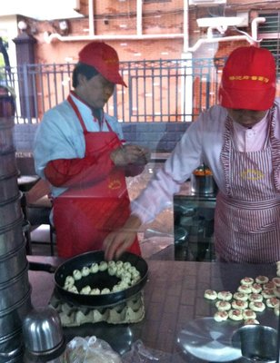 Making dumplings at a restaurant in Wuhan, China
