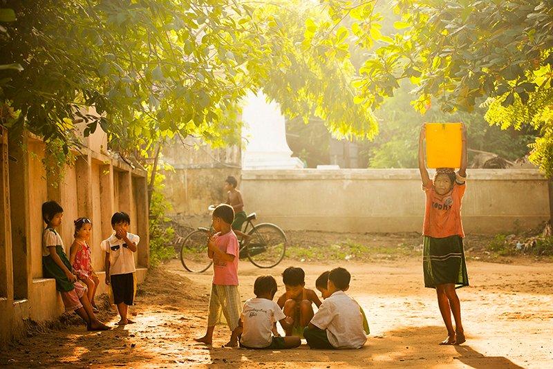 children playing in fields