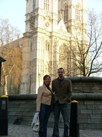 Michelle & Michael in front of Westminster Abbey