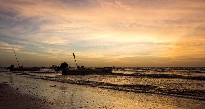 Sunset on Holbox beach.