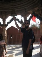 Ringing a bell at a temple in the Jodhpur Fort