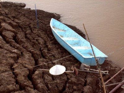Abandoned boat on shore of Mekong
