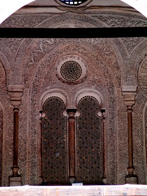 Intricately carved designs on the walls of the Masjids in Islamic Cairo