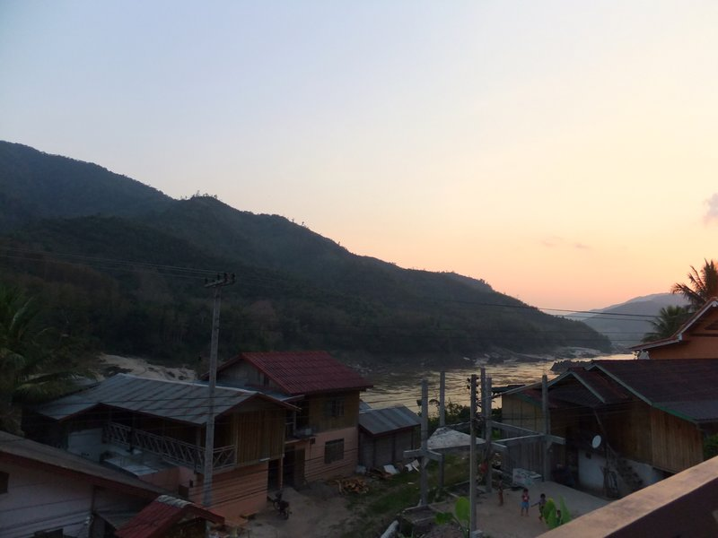 View from the guesthouse terrace in Pak Beng