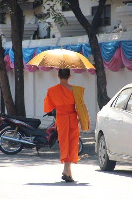 Monk walking to the temple