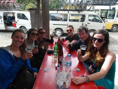 Celebratory drinks after Death road!