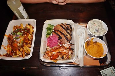 Barbeque (left to right): Chips with burnt ends, brisket, pulled pork, potato salad and sweet potato casserole