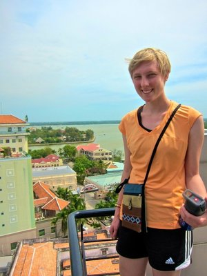 At the Hotel Balcony over looking Can Tho in the Mekong Delta