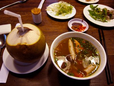 Coconut water, dumplings, and pho soup at the lunch restaurant
