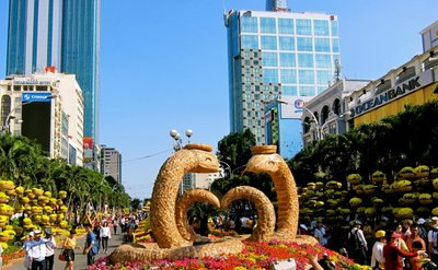 Flower show forFlower show for the Tet Lunar New Year in Downton Ho Chi Minh City Tet