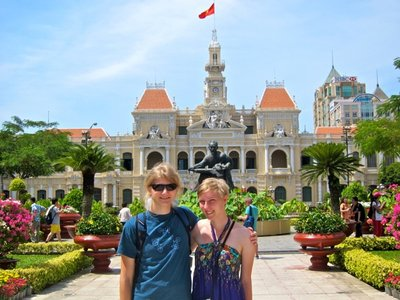 Josh and I right before leaving Ho Chi Minh City In front of City Hall and a statue of Ho Chi Minh