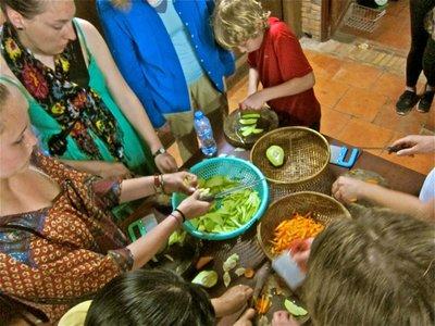 Making dinner in the host family kitchen