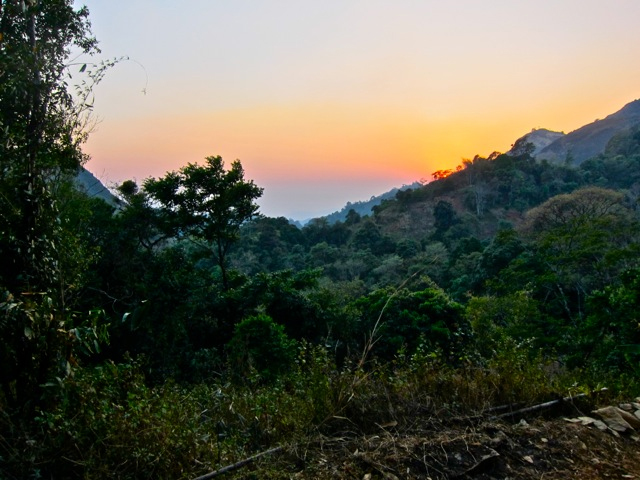 Sunset on our trek to the monastery in Inle Lake Area