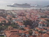 Our ship the MSC Divina (left) and Funchal from the cable car