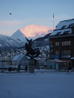Monument in Tromso with beautiful light on the mountain (also check out where the bird is in relation to the spear)