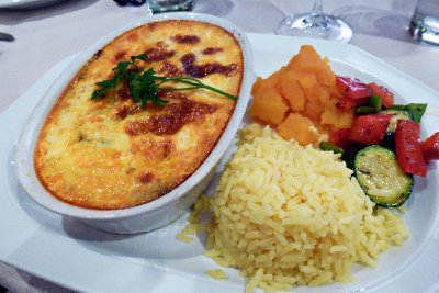 Stellenbosch - Bobotie with rice and veg at La Table du Petit Dejeuner
