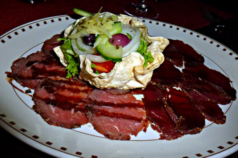 Durban - carpaccio of beef and smoked ostrich at Cargo Hold