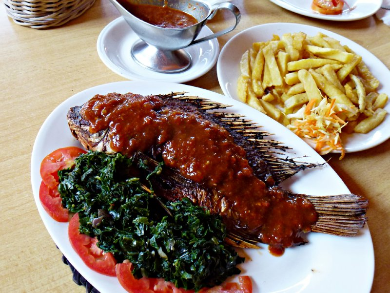 Lake Naivasha - Fried Tilapia with wilted spinach, tomatoes and chips