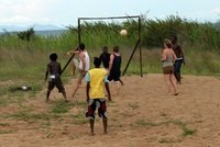Pick-up game of beach footie with the locals