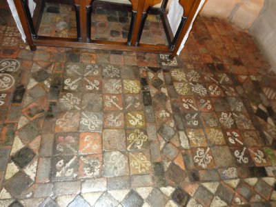 Christchurch unrestored medieval floor tiles