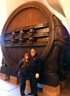 A humongous wine barrel