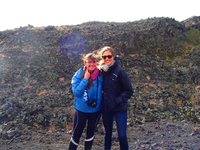 Stacey and I getting blown away- Mount Etna