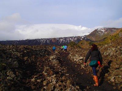 Hiking towards volcano