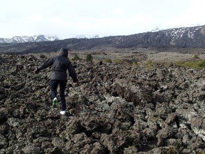 Walking on volcano ash of Mount Etna.  Last eruption was Nov 2012.  Yes, 2012.